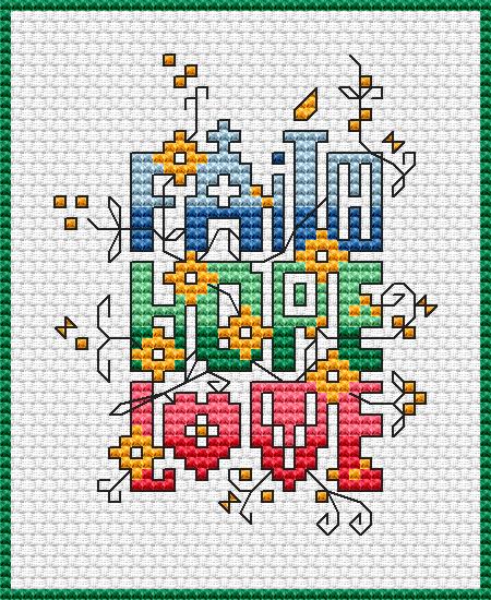 Dimensions Cross Stitch Patterns Free   chart faith hope love colors 8 dmc stitches 45 x 55 dimensions 3