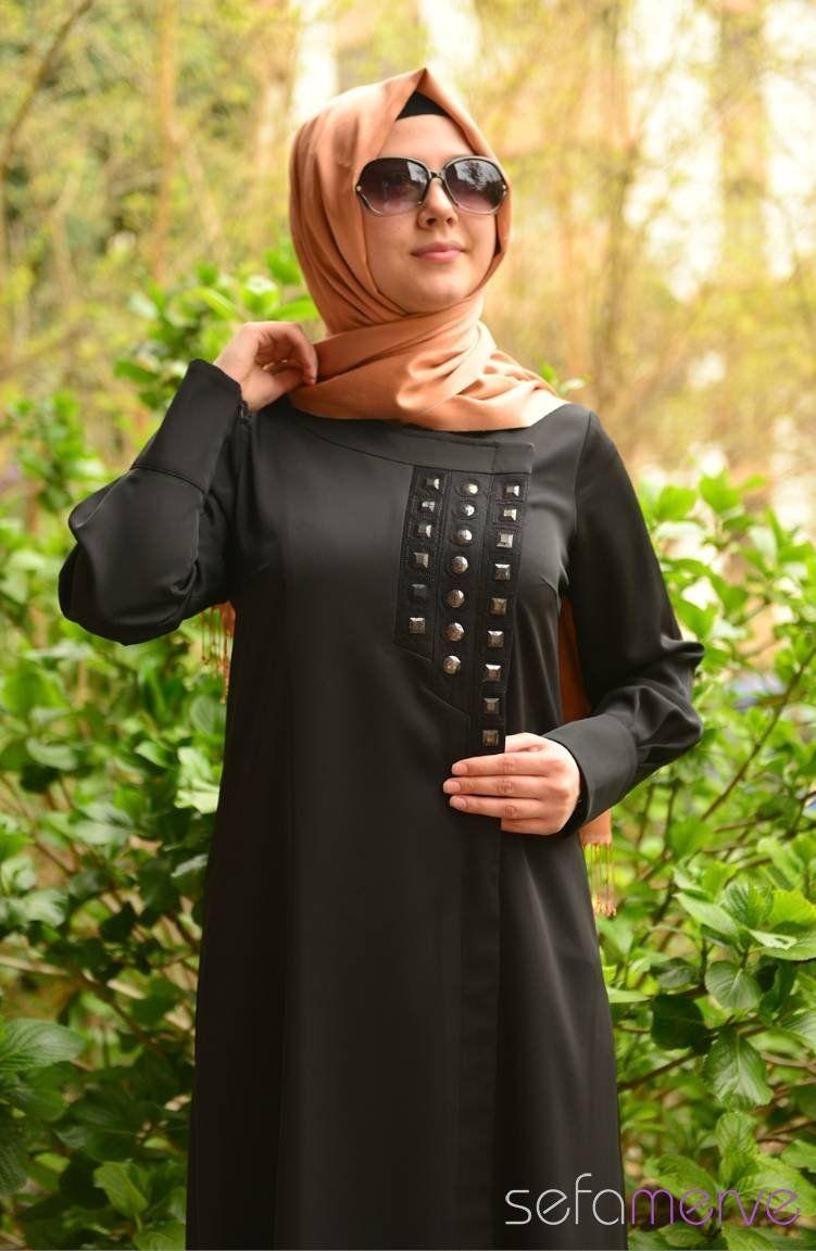 19dfefc89bc65 Yeni Sezon Şükran Ferace 35528-01 Siyah | Hijab Fashion | Pinterest