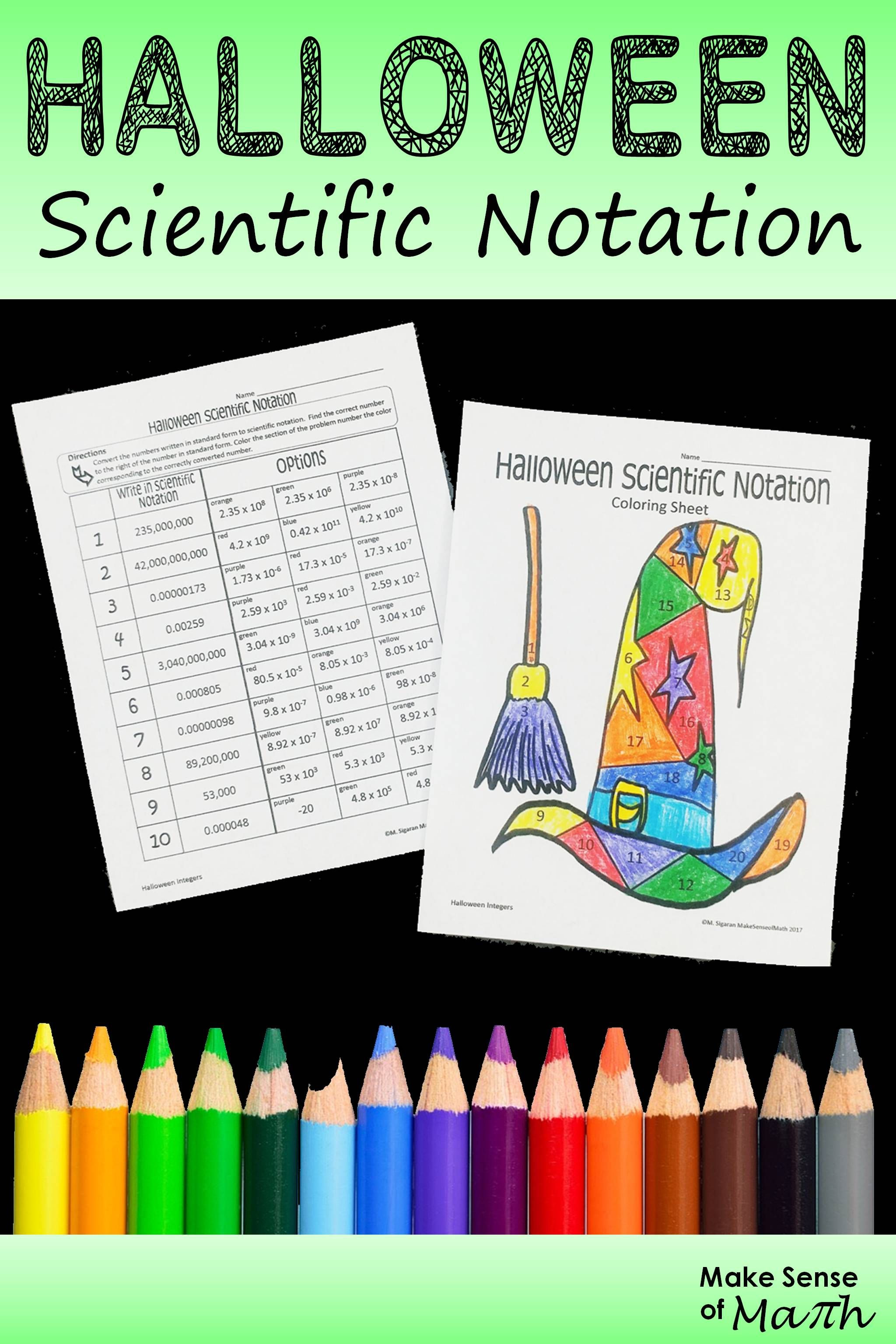 Halloween Math Activity Scientific Notation