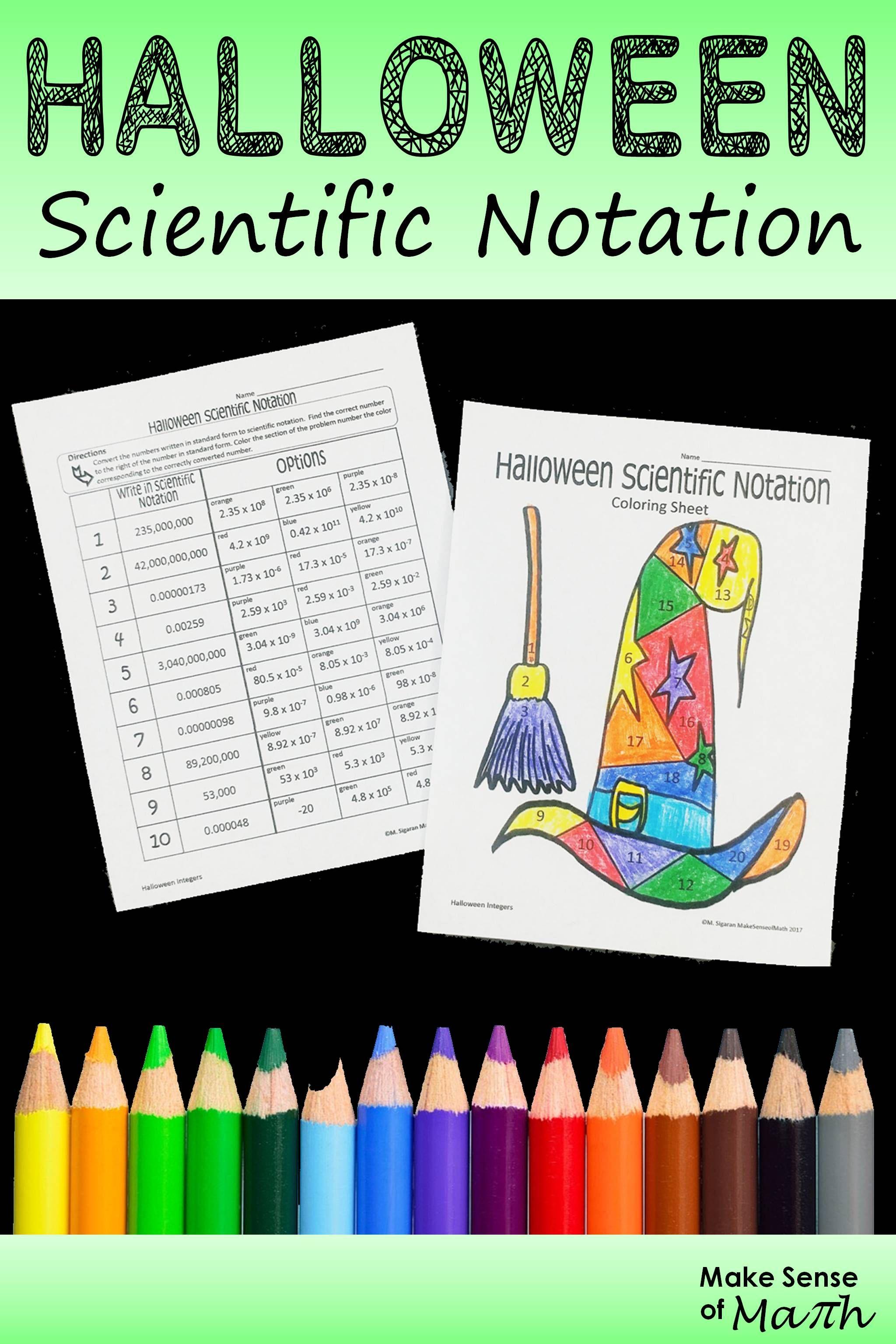 Halloween Math Activity Scientific Notation Halloween Math Activities Scientific Notation Halloween Math Worksheets