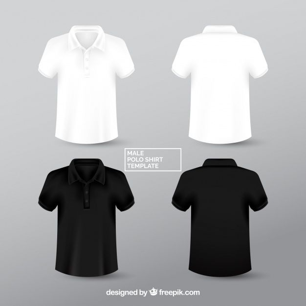 Download Black And White Male Polo Shirt Templante T Shirt Design Template Black Polo Shirt Tshirt Designs