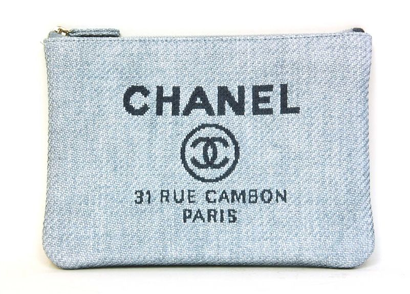 1d39d5cbcded Chanel Blue Raffia RUE CAMBON Clutch | + SPARKLE + | Chanel ...