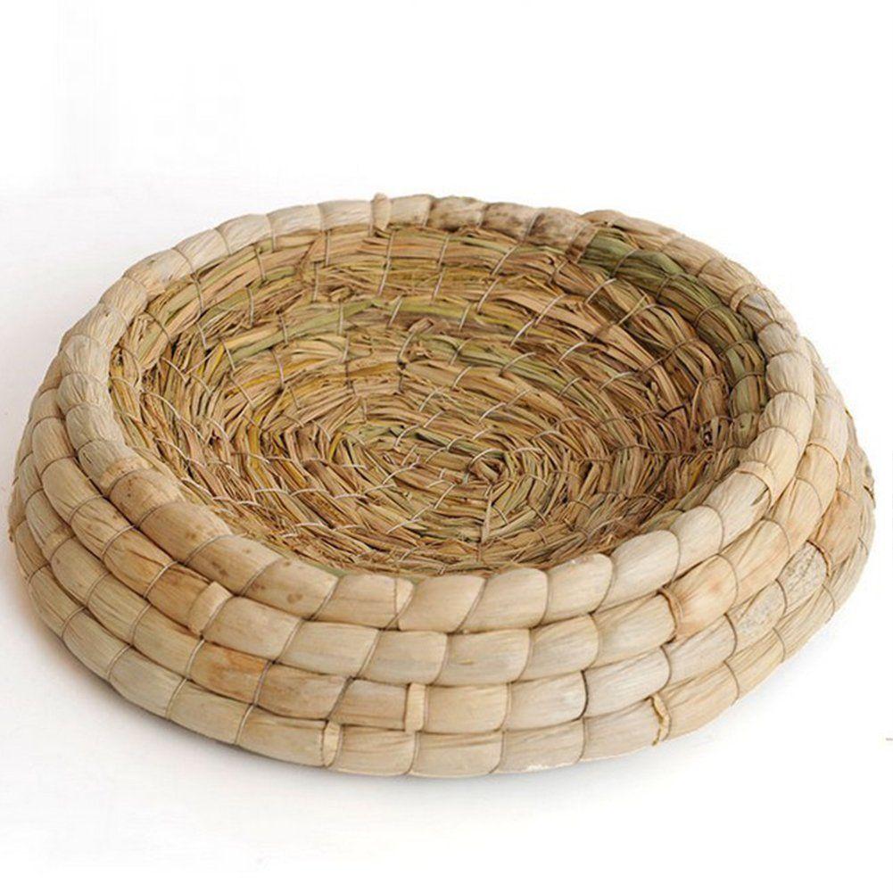 Handmade woven grass birds cages flat base straw mats pet