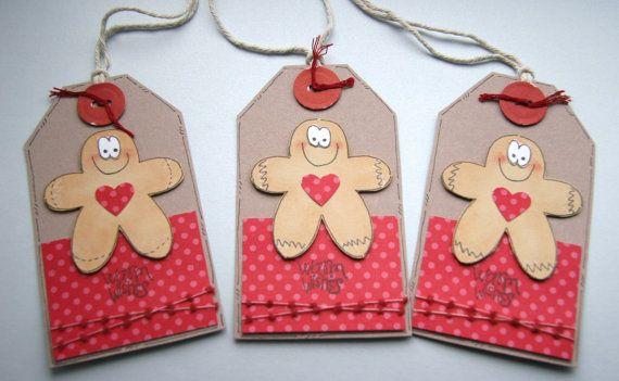 Gingerbread Men   Set of 3 Christmas Gift par CraftyMushroomCards, £2,85