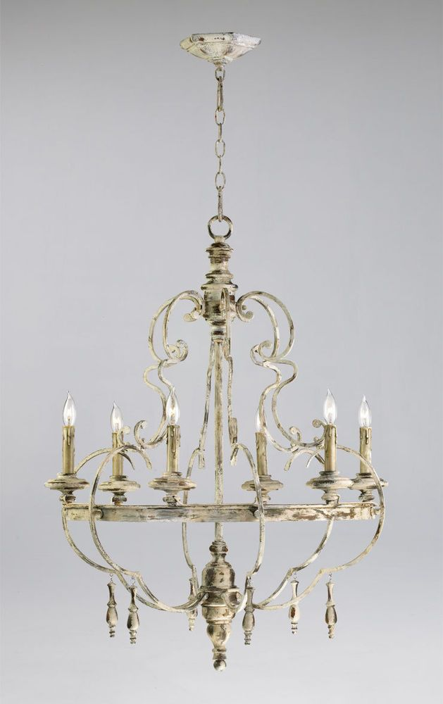 6 Light French Country Style Dining Room Chandelier Iron Wood Persian White