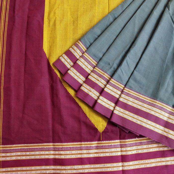 70ebe7a2558867 Ilkal Green Plain Cotton Silk Saree with Gayathri border in 2019 ...