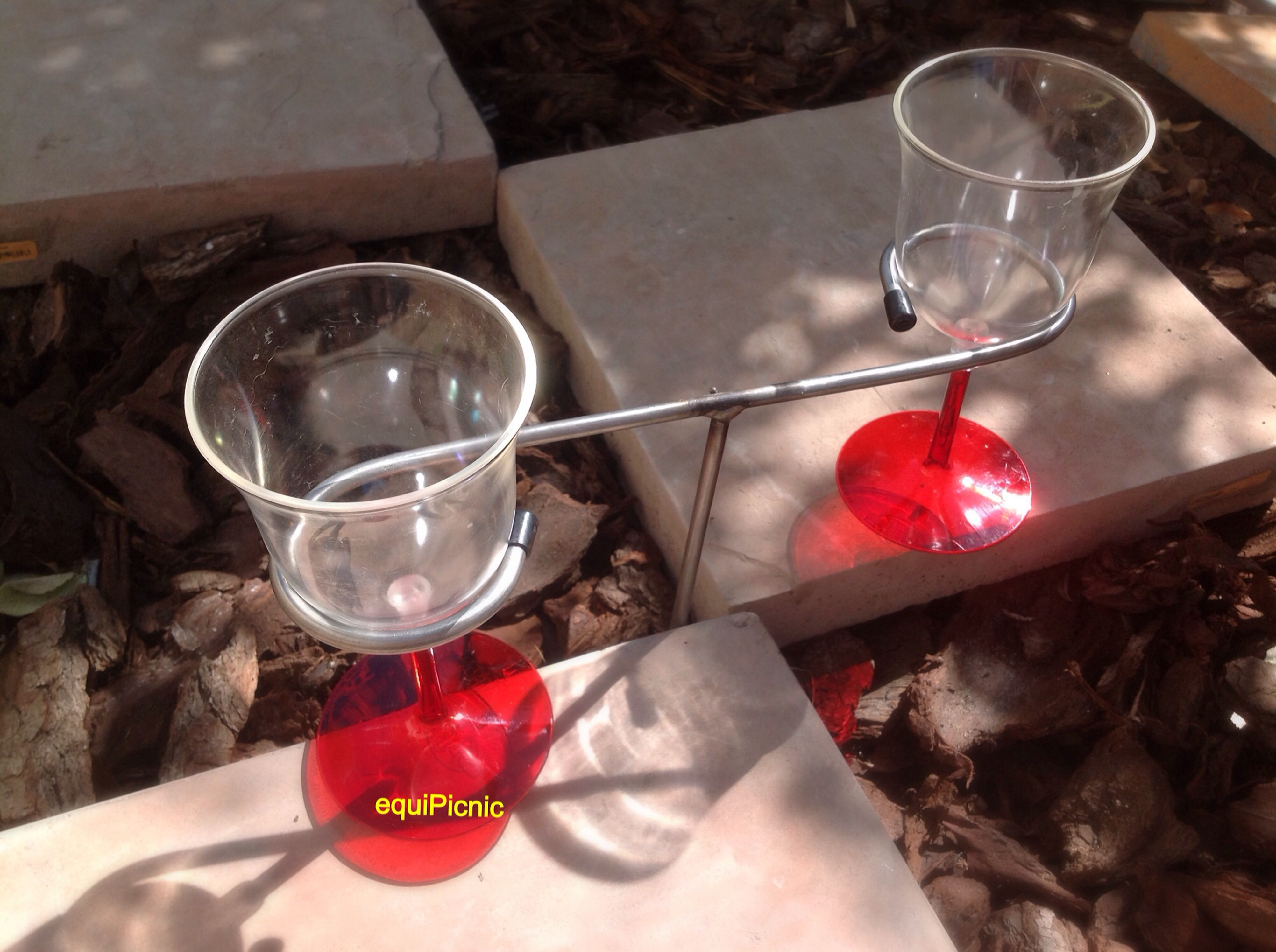 Double The Fun Glass Holder Picnic Means Quality Time Together Ditch The Mobile So Balancing The Wine Glasses Shouldn T D Glass Holders Glass Picnic Basket