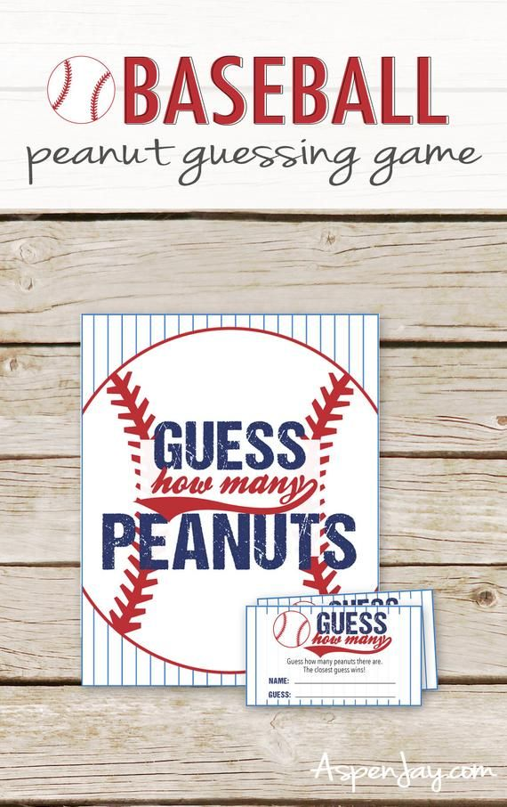 Guess How Many Peanuts Game – Baseball Baby Shower Peanut Guessing Game – Printable Instant Download – Baseball Peanut Game