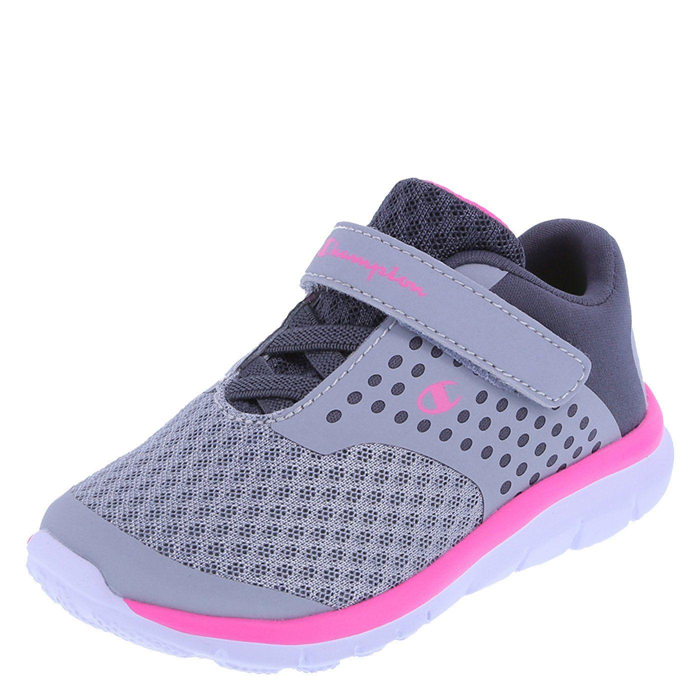 79feb67b620924 Champion Girls  Grey Pink Mesh Girls  Strap Gusto Cross Trainer 6 Regular.  Memory