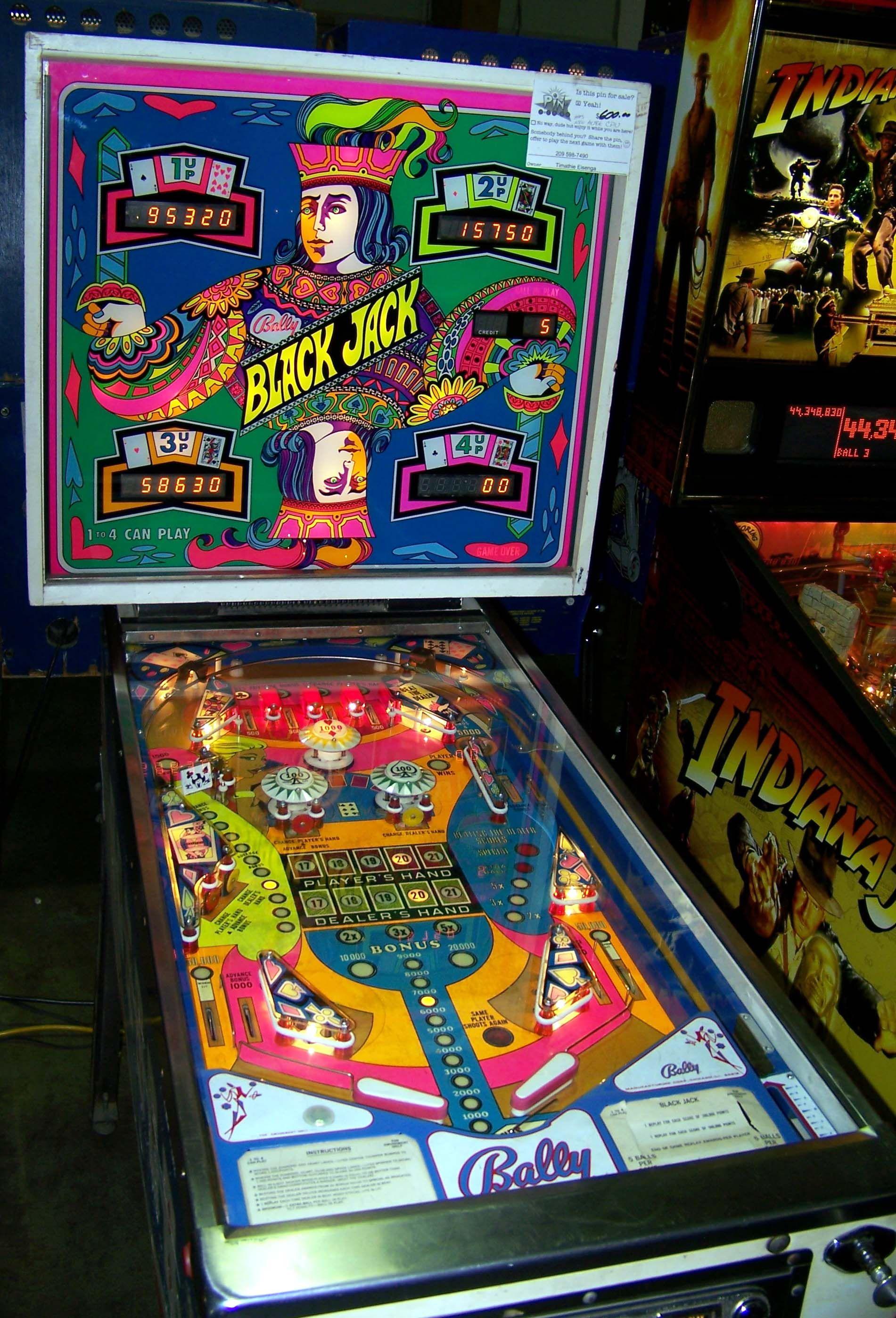 "1976 Black Jack ""Bally "" Pinball Machine"