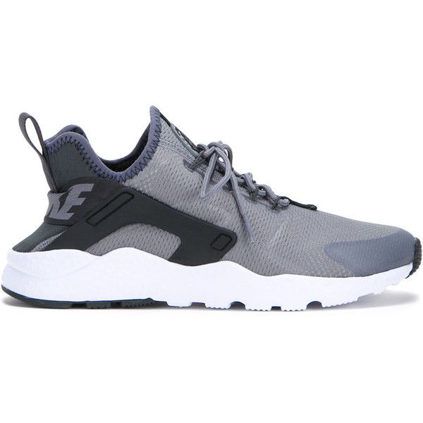 Nike contrast lace up trainers featuring polyvore, women's fashion, shoes, sneakers, grey, nike shoes, lacing sneakers, synthetic shoes, nike trainers and gray shoes