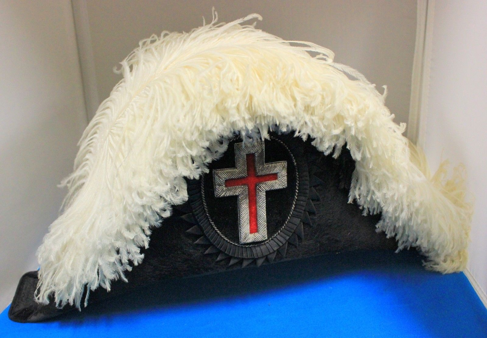 Masonic Knights Templar Hat Ostrich Feather Commandery Chapeau w Case Ohio | eBay
