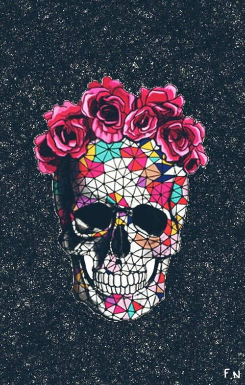 Wallpaper Skull And Flowers Image Produccion Artistica Fondos