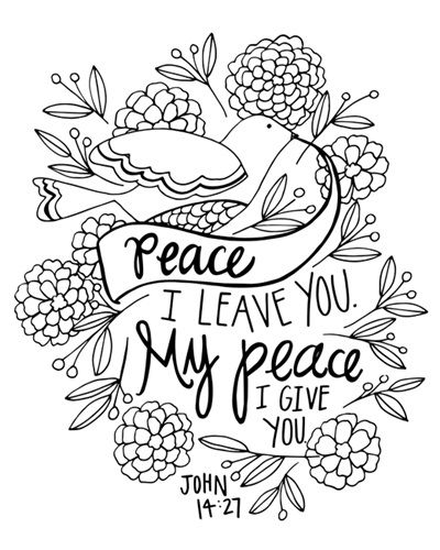 Peace I Leave You Handlettered Coloring Coloring Canvas Bible Verse Coloring Page Bible Verse Coloring Scripture Coloring
