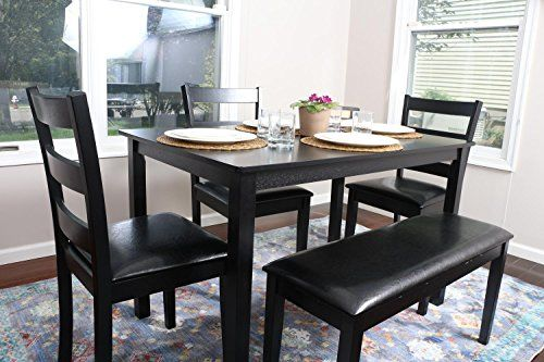 4 Person 5 Piece Kitchen Dining Table Set 1 Table 3 Leather Chairs 1 Bench Black J150232black Dining Room Table Set Dining Table In Kitchen Dinning Room Tables
