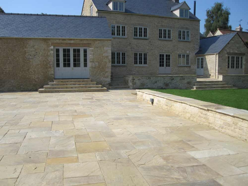 Riven York Stone Paving Project, Genuine English Stone Not Indian  Sandstone. Http:/