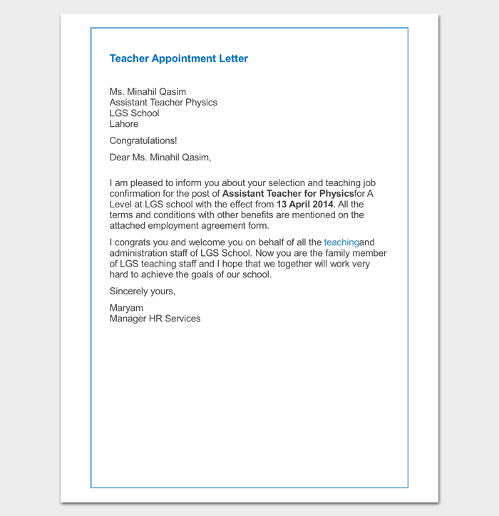 Teacher Appointment Letter Sample Example Word Pdf Format Write