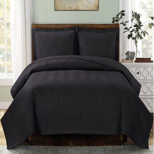 Black Quilted Bedspread Set | Bedspread, Bedrooms and Dorm : black quilted coverlet - Adamdwight.com