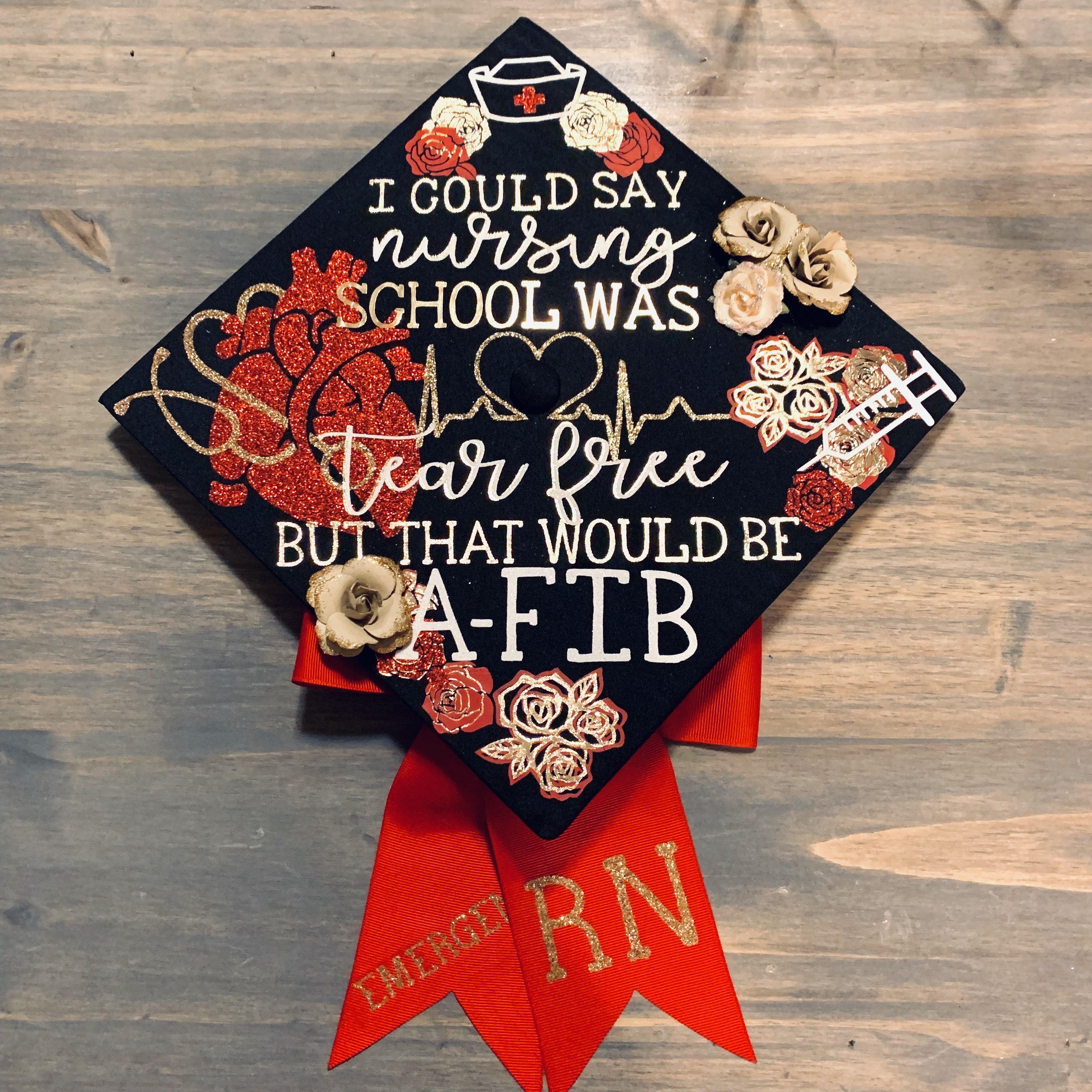 Emergency Rn Grad Cap Nurse Graduation Cap Graduation Cap Decoration Nursing Rn Graduation Cap