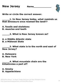 New Jersey Usa Us History American Symbols Task Cards