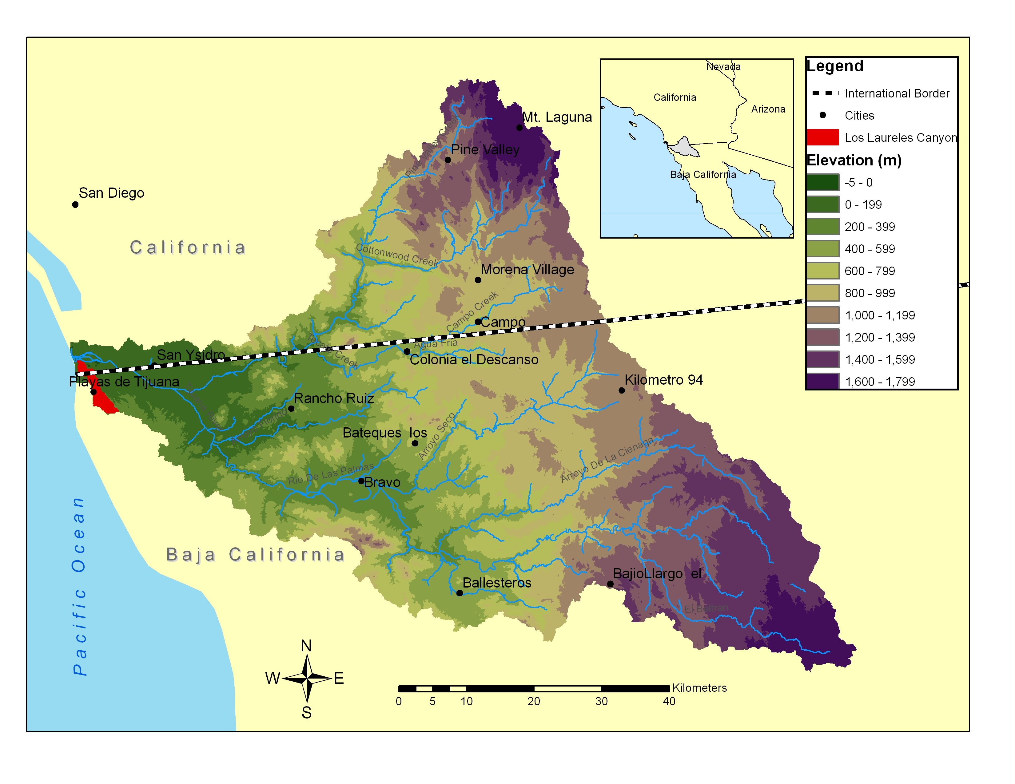 Map of Tijuana River Watershed SanDiegoTijuana Maps Pinterest