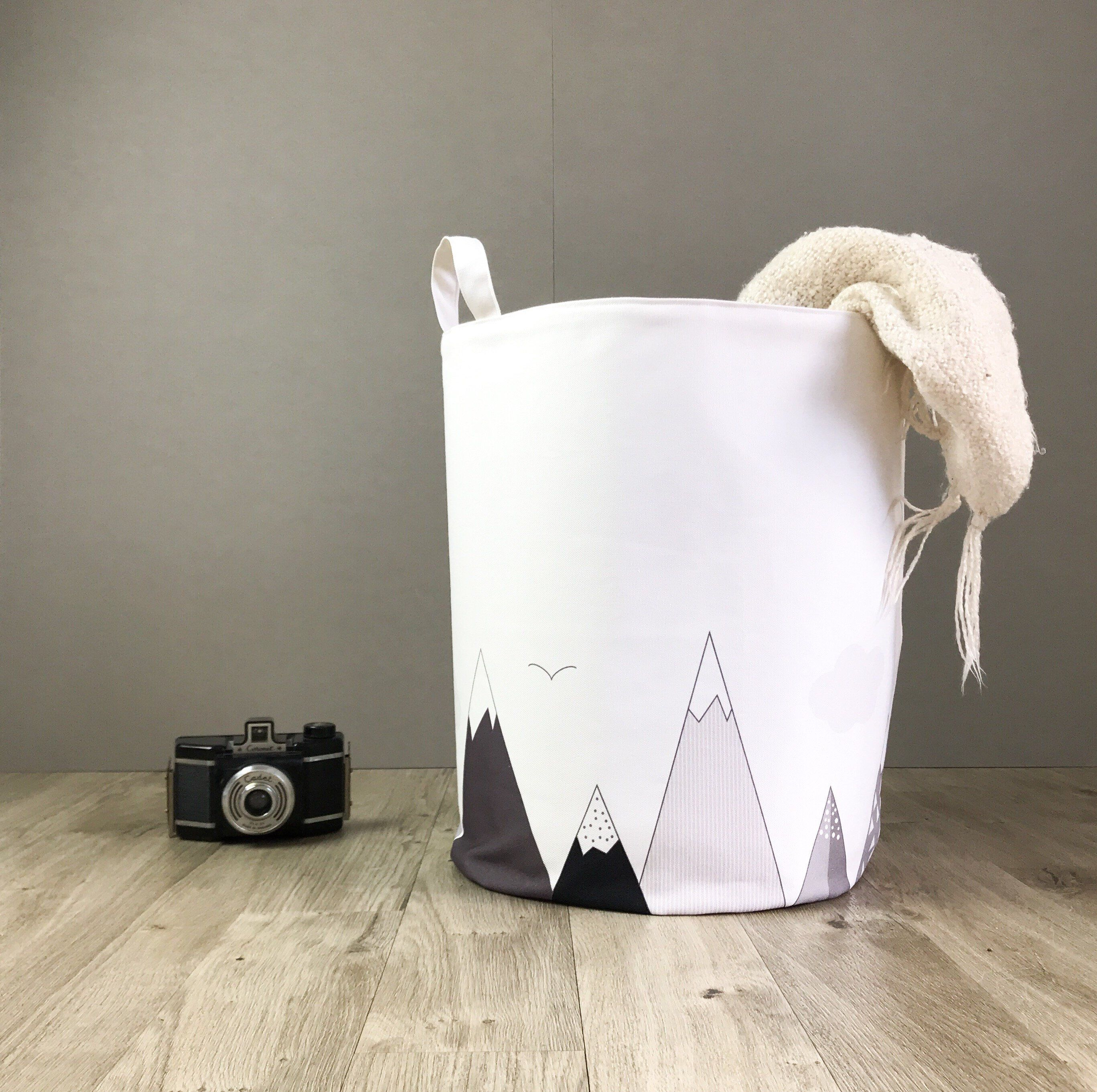 Mountains Nursery Laundry Hamper Basket Monochrome Kids Toy