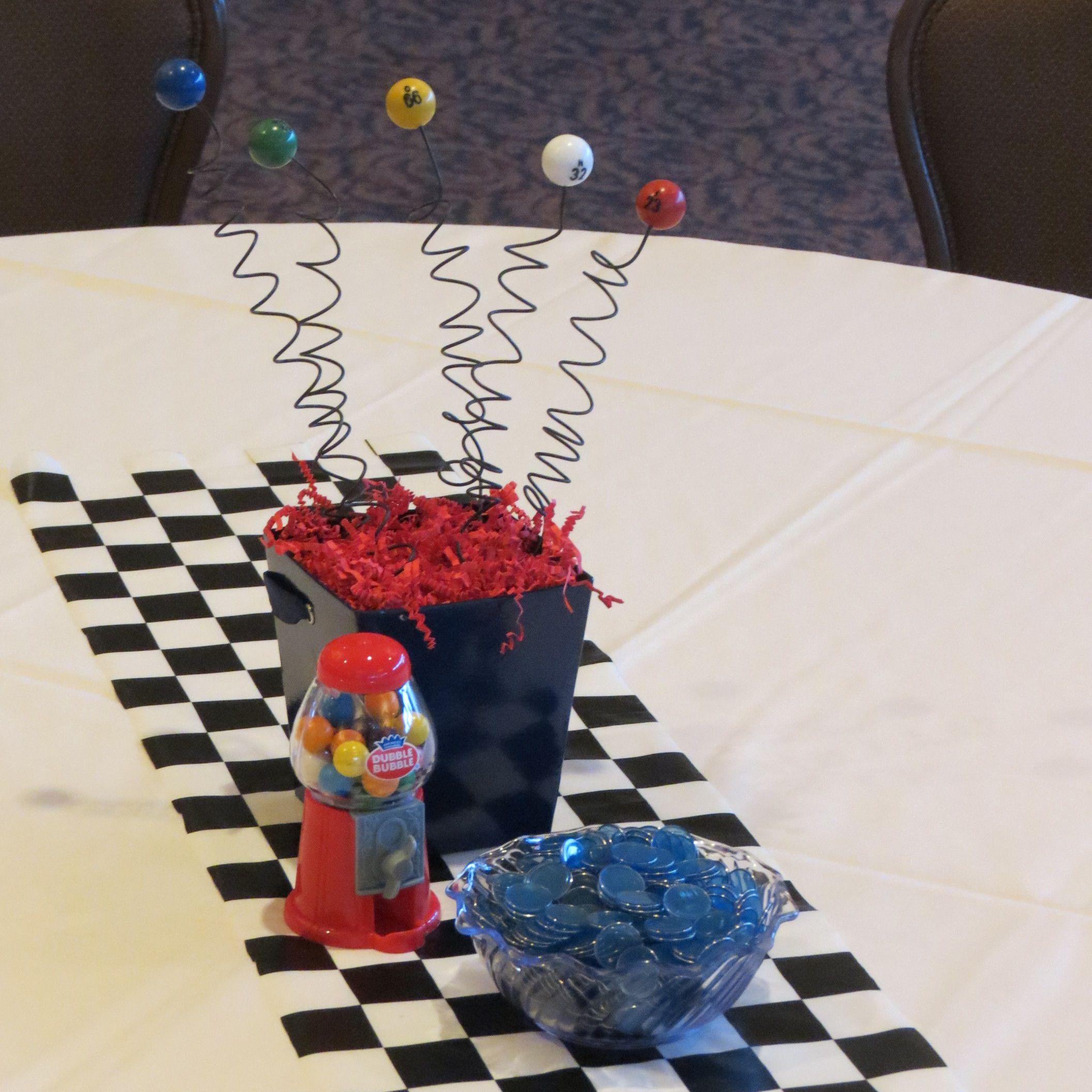"Centerpieces for ""Retro"" themed Bingo night at TPC ...  |Bingo Party Snacks"