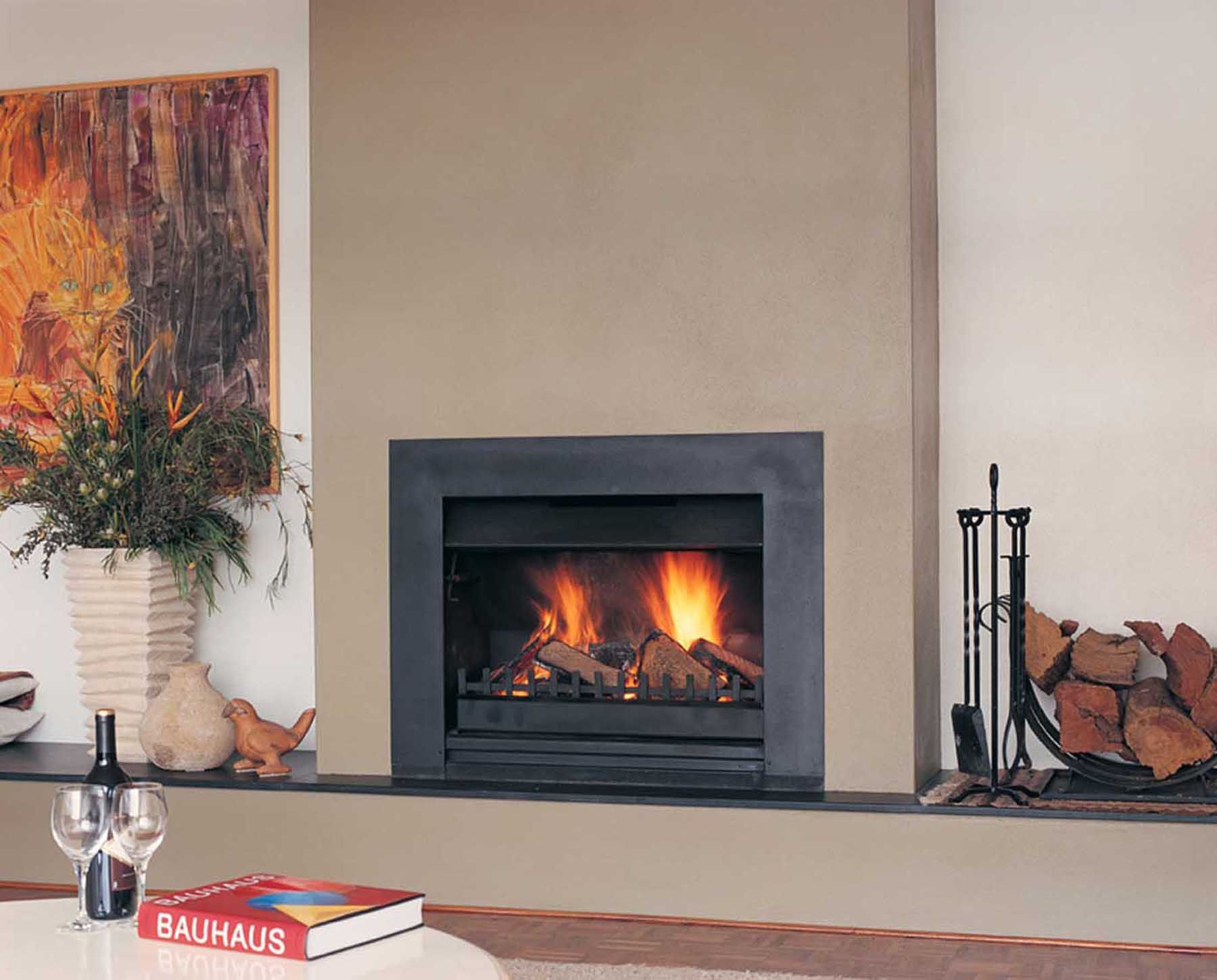 contemporary inbuilt wood fireplace google search home makeovers