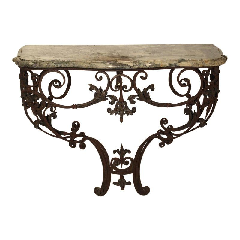 Beautiful 19th Century French Wrought Iron And Bronze Console