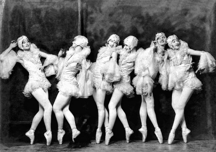 Ziegfeld girls. A group of chorus girls during the early 20's in a theatrical spectacular known as the Ziegfeld Follies. Popular, of similar size, and beautiful.