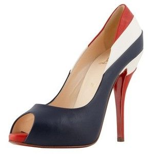 Christian Louboutin Heels Blue, Red And White Leather Peep Toe Pump