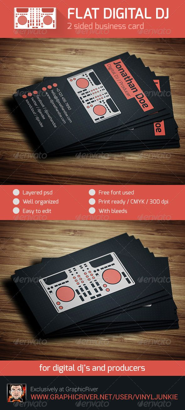 2 side business card template for professional djs and producers 2 side business card template for professional djs and producers in flat sylefeatures layered wajeb Gallery