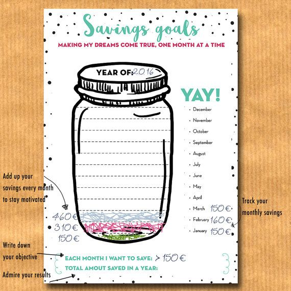 savings goal tracker jar savings chart budget planner financial