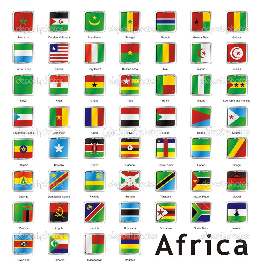 flags of african nations isolated african flags stock vector