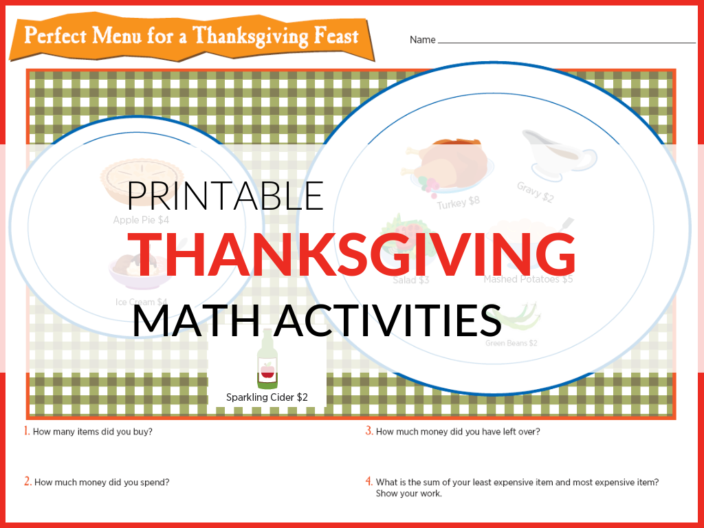 Free Thanksgiving Math Activities Grades 1 6 With Images