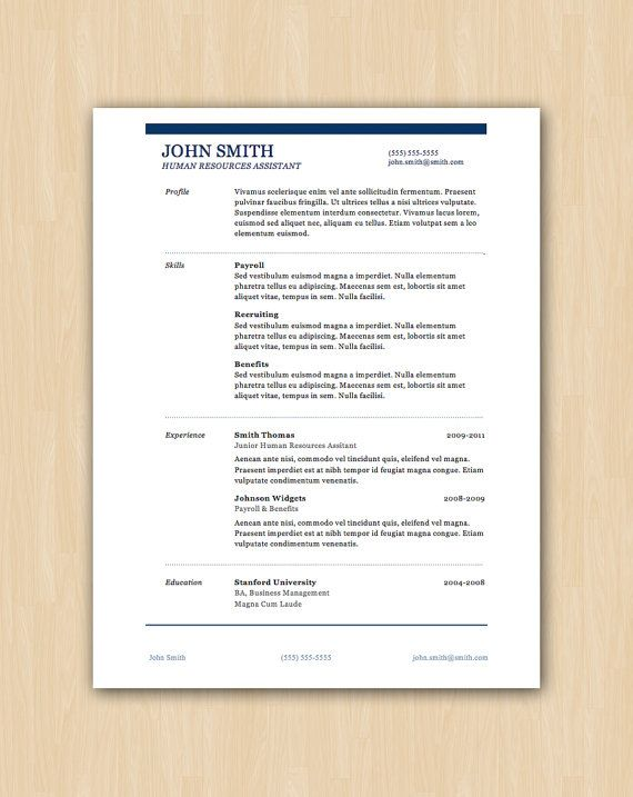 The Smith Design  Professional Resume Template  Instant Download