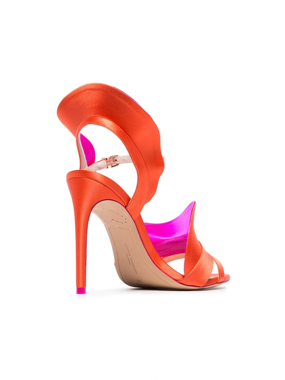 715d6f35bf6b Sophia Webster orange and pink Lucia 100 satin ruffle sandals