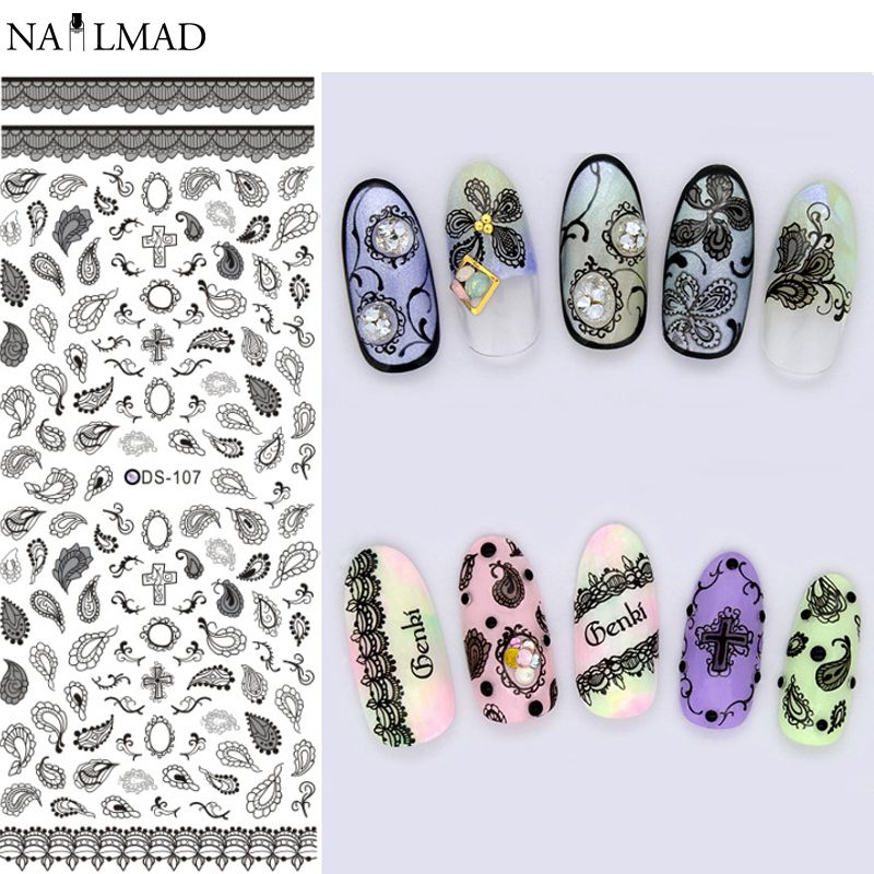 1 sheet Gray Leaves Elements Nail Art Water Decals Paisley Flower ...