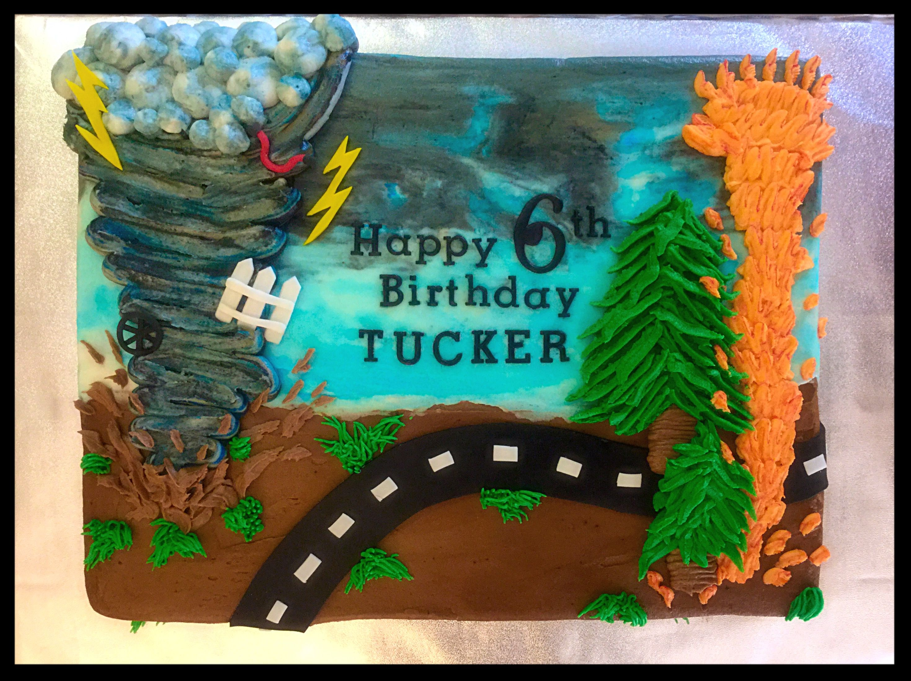 Awe Inspiring Tornado Birthday Cake With Images Happy 6Th Birthday Birthday Funny Birthday Cards Online Overcheapnameinfo