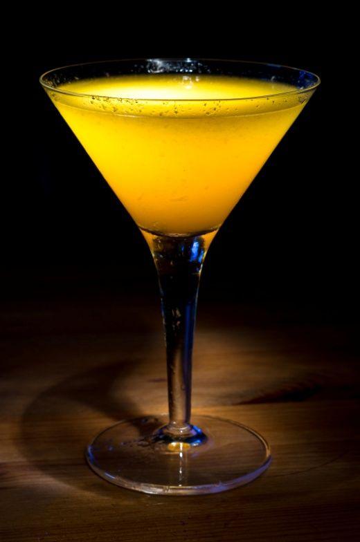 Apricot Mango: Dry Gin, Apricot Brandy, Mango Puree, Lemon Juice, Simple Syrup, Orange Bitters.