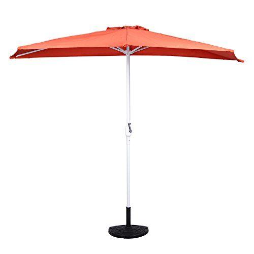 Amazon De Balkon Sonnenschirm Terracotta Halbrund Inkl Schirmstander Und Schirmschutzhulle Sonnenschirm Schirm Ebay