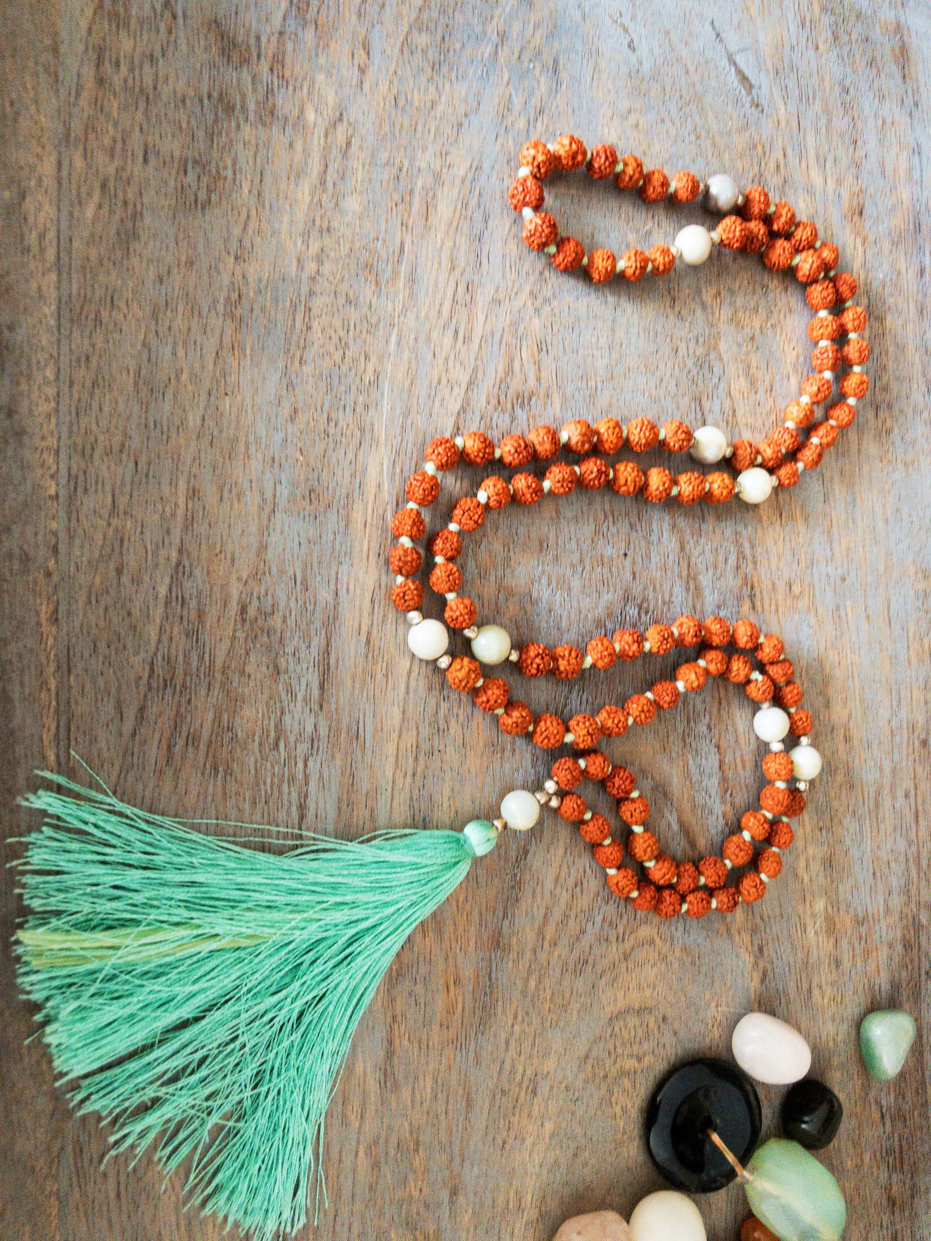 Tassel Necklace japa mala gift yoga mala gift Amazonite mala Rudraksha Mala mala Bead 108 prayer beads gift for yogi