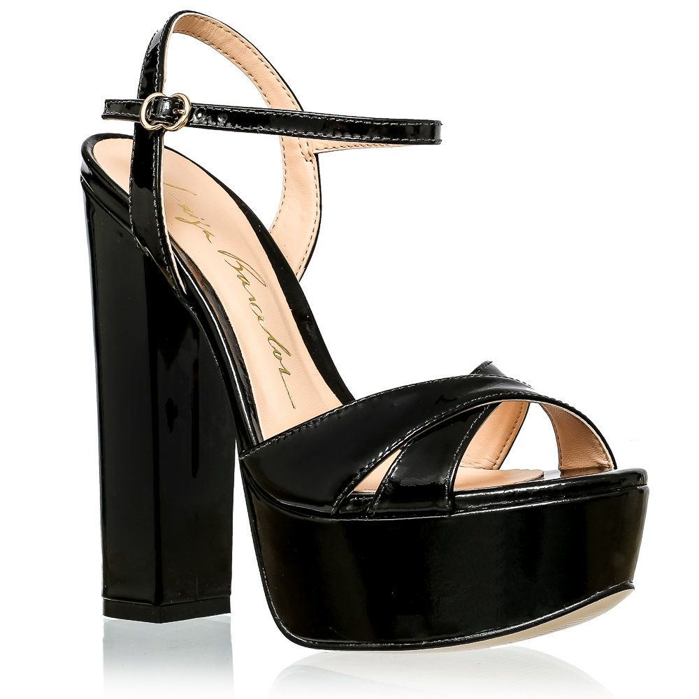 Sandália meia pata verniz preto | Luiza Barcelos