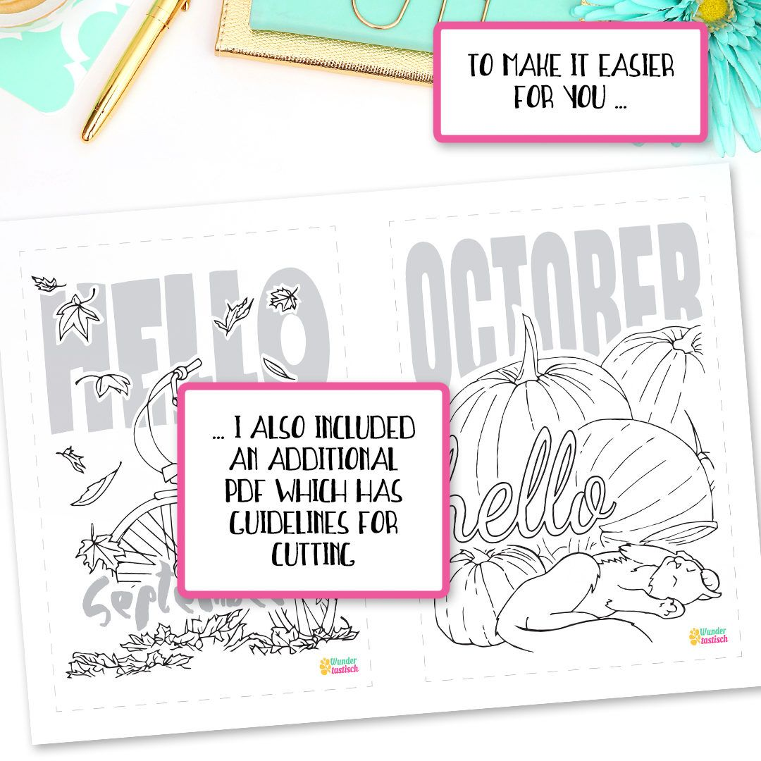 This A5 Planner Kit includes twelve coloring pages which are perfect to welcome the beginning of each month. Enjoy a steaming mug of your favorite hot beverage while coloring these beautiful printable pages. Hello Month Printables also help you to navigate your Bullet Journal. If you place them right at the beginning of each month, you can find notes on events and projects of the past more easily. Since you always know where a new month begins and ends. ════════ PRODUCT DETAILS ════════ >...