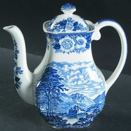 Kaffeetasse mit Untere Enoch Wedgwood Lochs of Scotland Blue