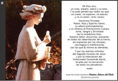 oracion de Fatima, que el Angel enseñó a los pastorcitos