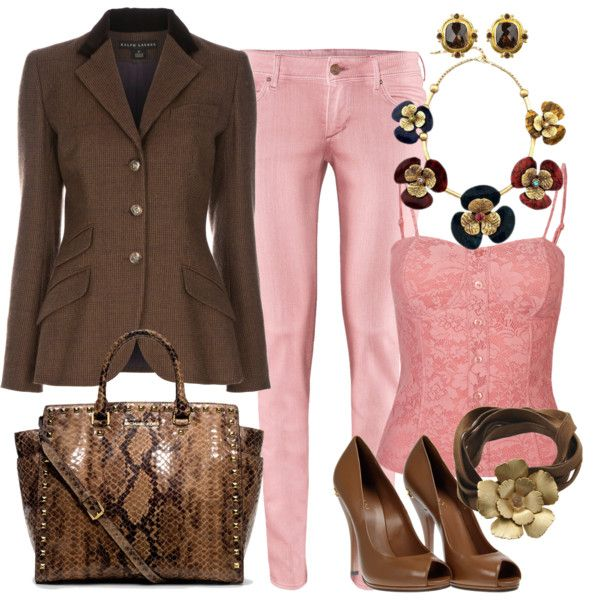 """Brown & Pink"" by sandeek00 on Polyvore"