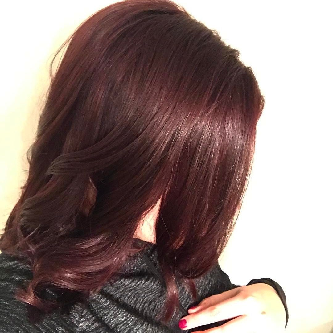Beautiful red violet color we achieved using wella color