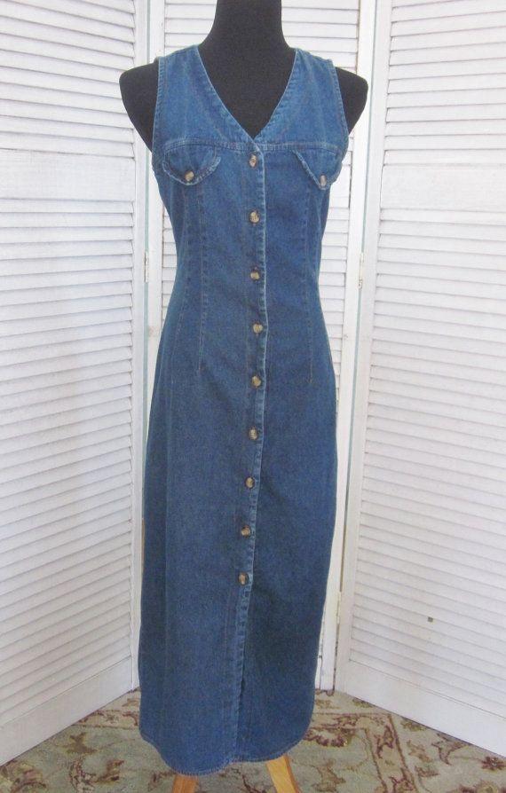 Vintage Denim Maxi Dress 90s Grunge Denim Dress Button Up Etsy Hipster Dress Grunge Dress 90s Denim Maxi Dress