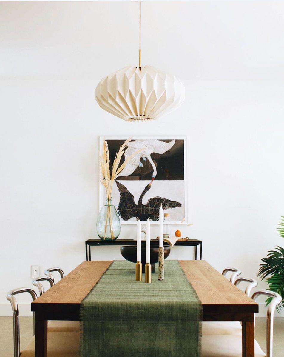 On Trend Make Mine Green Modern Dining Room Mid Century Modern Dining Room Green Table Runner